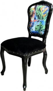 Casa Padrino Luxus Barock Esszimmer Set Comic Mehrfarbig / Schwarz 55 x 54 x H. 103 cm - 4 handgefertigte Esszimmerstühle - Designer Stühle - Barock Esszimmermöbel - Vorschau 3