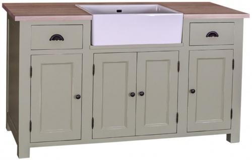 Casa Padrino Landhausstil Waschbeckenschrank Hellgrün / Naturfarben 155 x 65 x H. 90 cm - Waschtisch mit 4 Türen und 2 Schubladen - Vorschau 1