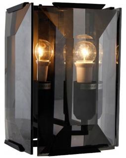 Casa Padrino Luxus Wandleuchte Schwarz / Grau 19 x 19 x H. 27 cm - Elegante Wandlampe mit getöntem Glas - Luxus Qualität