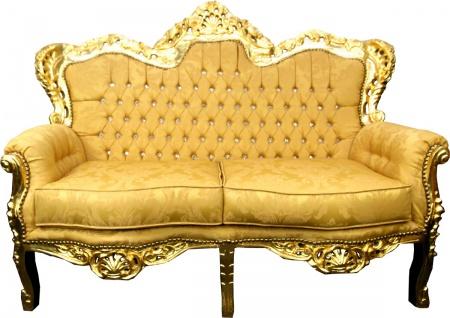 Casa Padrino Barock 2er Sofa Gold Muster / Gold mit Bling Bling Glitzersteinen - Antik Stil Wohnzimmer Möbel