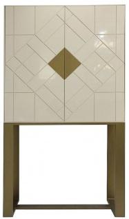 Casa Padrino Designer Wohnzimmerschrank Creme / Messing 100 x 40 x H. 180 cm - Wohnzimmer Möbel - Luxus Qualität