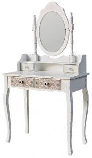 Casa Padrino Landhausstil Schminktisch Antik Weiß / Mehrfarbig 75 x 40 x H. 140 cm - Möbel im Shabby Chic Design