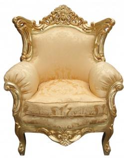 Casa Padrino Antik Stil Wohnzimmer Barock Sessel Al Capone Mod Gold Blumen Muster / Gold - Edel & Prunkvoll