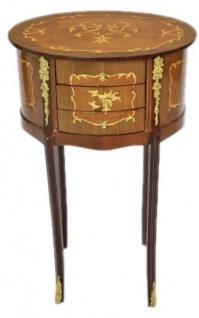 Casa Padrino Barock Kommode Mahagoni Intarsien / Gold mit 3 Schubladen Oval - Nachtschrank Antik Stil - Vorschau 1