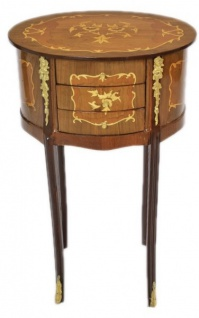Casa Padrino Barock Kommode Mahagoni Intarsien / Gold mit 3 Schubladen Oval - Nachtschrank Antik Stil