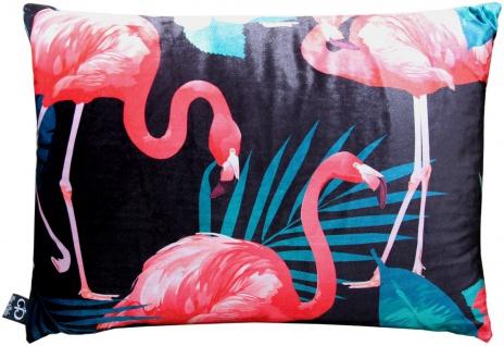 Casa Padrino Luxus Kissen Malibu Flamingos Schwarz / Mehrfarbig 35 x 55 cm - Feinster Samtstoff - Deko Wohnzimmer Kissen