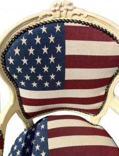 Casa Padrino Barock Salon Stuhl USA Design / Creme - Vorschau 2