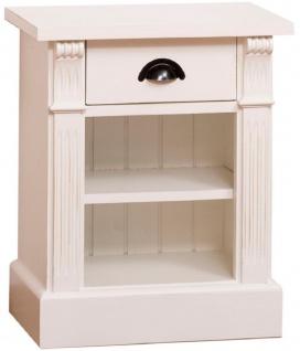 Casa Padrino Landhausstil Nachttisch mit Schublade und Regal Cremefarben 49 x 33 x H. 60 cm - Massivholz Nachtkommode - Nachtschrank - Landhausstil Schlafzimmermöbel