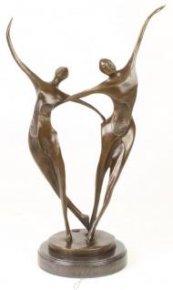 Casa Padrino Designer Bronze Skulptur Tänzer Paar Bronze / Schwarz 24 x 16, 5 x H. 48 cm - Luxus Deko Bronzefigur mit Marmorsockel