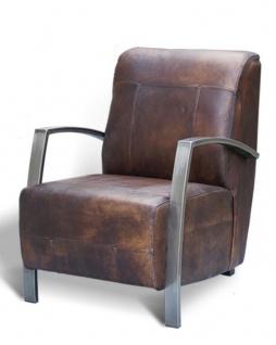 Casa Padrino Vintage Industrial Echtleder Lounge Sessel - ALLE FARBEN - Luxus Wohnzimmer Sessel Industrie Design Möbel Büffelleder - Vorschau 3
