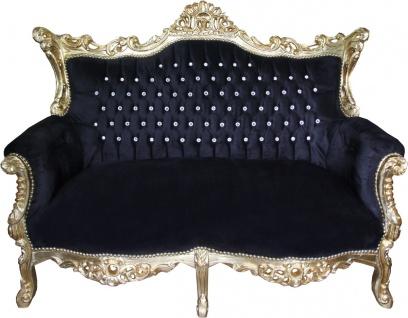 Casa Padrino Barock 2-er Sofa Master Schwarz / Gold mit großen Bling Bling Glitzersteinen - Antik Stil Möbel