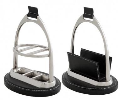 Casa Padrino Luxus Schreibtisch-Set: Briefständer und Kugelschreiber Ständer Echtleder Schwarz Kugelschreiberständer - Kartenständer