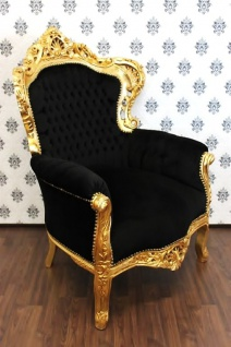 Casa Padrino Barock Sessel King Schwarz/Gold - Möbel Antik Stil