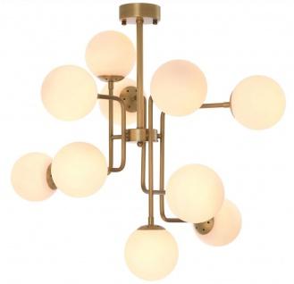 Casa Padrino Luxus Kronleuchter Antik Messing / Weiß 84 x 84 x H. 73 cm - Moderner Kronleuchter mit runden Glas Lampenschirmen