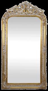 Casa Padrino Barock Wandspiegel Gold / Weiß 85 x H. 160 cm - Barock Spiegel mit wunderschönen Verzierungen - Barock Möbel