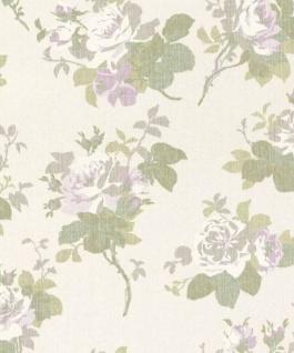Casa Padrino Barock Textiltapete Creme / Weiß / Grün / Grau / Lila 10, 05 x 0, 53 m - Tapete mit Blumenmuster