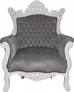 Casa Padrino Barock Sessel Al Capone Grau / Weiß - Wohnzimmer Sessel im Antik Stil - Vorschau 3
