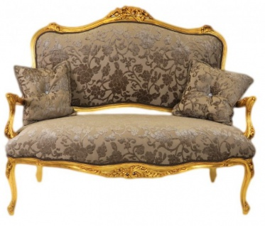Casa Padrino Barock Sofa Grau-Khaki Muster / Gold - italienischer Stil - Barock Möbel