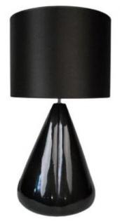Casa Padrino Luxus Keramik Tischleuchte Schwarz Ø 33 x H. 75 cm - Wohnzimmer Deko & Accessoires