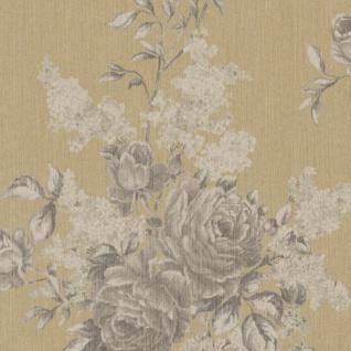 Casa Padrino Barock Textiltapete Creme / Grau / Gold 10, 05 x 0, 53 m - Tapete mit Blumenmuster