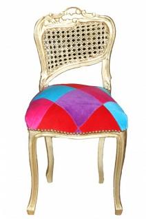 Casa Padrino Barock Damen Stuhl Mod2 Karo Bunt / Gold - Schminkstuhl