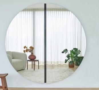 Casa Padrino Luxus Spiegel Schwarz 200 x 3, 5 x H. 200 cm - Runder Wandspiegel - Wohnzimmer Hotel Restaurant Boutique Spiegel