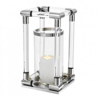 Casa Padrino Luxus Windlicht / Kerzenleuchter Nickel Finish 24 x H. 45 cm - Limited Edition