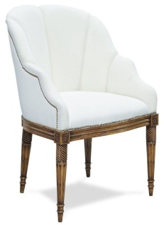 Casa Padrino Luxus Barockstil Salon Stuhl Weiß / Braun 61 x 66 x H. 95 cm - Hotel Möbel