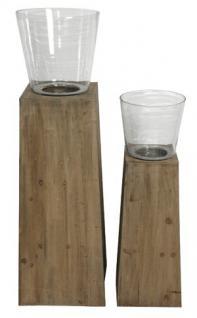 Designer Kerzenhalter aus Holz, Braun, mit Ständer und Glasbehälter, 2er-Set Kerzenleuchter Kerzenständer Gartenlicht Garten