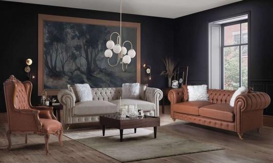 Casa Padrino Luxus Chesterfield Sofa Grau / Braun 240 x 100 x H. 78 cm - Edles Wohnzimmer Sofa - Chesterfield Möbel - Vorschau 4