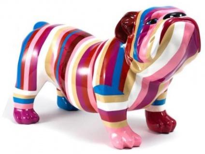 Casa Padrino Designer Dekofigur Hund Bulldogge Mehrfarbig Gestreift 55 x H. 32 cm - Wetterbeständige Deko Skulptur - Wohnzimmer Deko - Garten Deko - Deko Accessoires