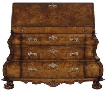 Casa Padrino Luxus Jugendstil Schreibkommode mit 18 Schubladen Braun / Silber 100 x 53 x H. 120 cm - Luxus Qualität