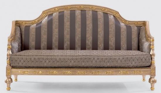 Casa Padrino Luxus Barock Sofa Grau / Silber / Gold - Prunkvolles Wohnzimmer Sofa mit elegantem Muster - Möbel im Barockstil