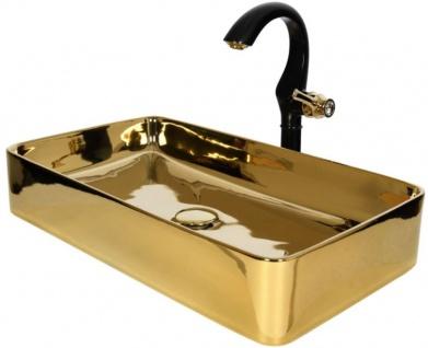 Casa Padrino Luxus Waschtisch Set Schwarz / Gold 61 x 31 x H. 26, 1 cm - Eleganter Einhebel Wasserhahn mit rechteckigem Waschbecken - Luxus Bad Zubehör