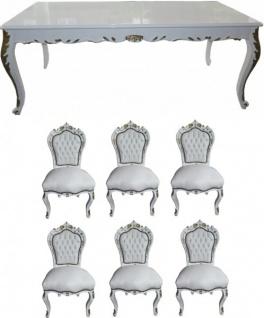 Casa Padrino Barock Esszimmer Set Weiß / Weiß / Gold - Esstisch + 6 Stühle - Möbel Antik Stil