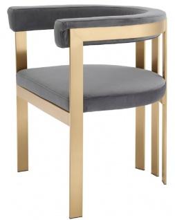 Casa Padrino Luxus Esszimmerstuhl mit Armlehnen Grau / Messingfarben 61 x 56 x H. 73 cm - Edelstahl Küchenstuhl mit edlem Samtstoff - Luxus Küchenmöbel