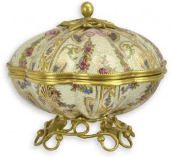 Casa Padrino Barock Porzellan Schmuckschatulle mit Blumen Design Mehrfarbig / Gold 23 x 23 x H. 19, 8 cm - Barock Deko Accessoires