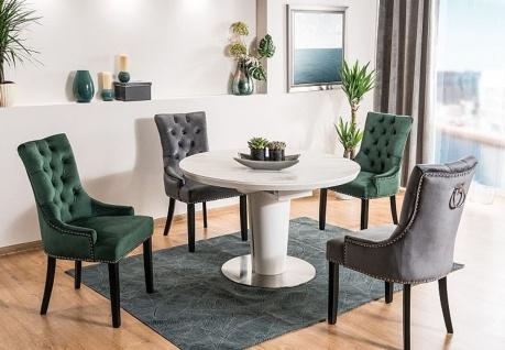 Casa Padrino Luxus Chesterfield Esszimmer Stuhl Grau / Silber / Schwarz - Küchenstuhl mit Samtstoff - Esszimmer Möbel - Vorschau 5