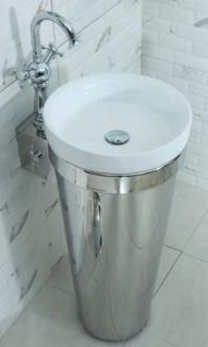Casa Padrino Luxus Edelstahl Waschtisch mit Porzellan Waschbecken Silber / Weiß 40 x H. 86 cm - Badezimmer Möbel - Hotel & Restaurant Kollektion - Luxus Qualität
