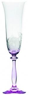 Casa Padrino Luxus Barock Champagnerglas 6er Set Lila Ø 7 x H. 24, 5 cm - Handgefertigte und handgravierte Champagnergläser mit Blumen Design - Hotel & Restaurant Accessoires