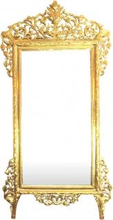 Riesiger Casa Padrino Barock Spiegel Gold 220 x 120 cm - Edel & Prunkvoller Wandspiegel Shiny Gold