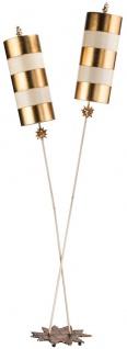 Casa Padrino Designer Doppel Stehleuchte Gold / Taupe 63, 5 x 35, 6 x H. 198, 1 cm - Moderne Stahl Stehlampe - Luxus Wohnzimmer Leuchten