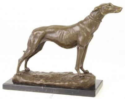 Casa Padrino Luxus Bronzefigur Windhund mit Marmorsockel Bronze / Gold / Schwarz H. 24, 5 cm - Luxus Dekofigur
