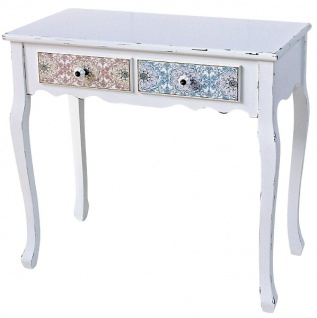 Casa Padrino Landhausstil Konsole Antik Weiß / Mehrfarbig 80 x 40 x H. 74 cm - Shabby Chic Möbel