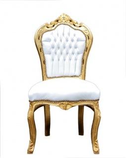 Casa Padrino Barock Esszimmer Set Weiß/Gold - Esstisch + 6 Stühle ohne Armlehnen - Vorschau 2