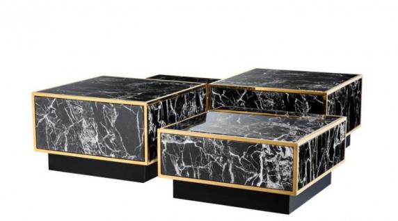 Casa Padrino Art Deco Luxus Couchtisch Kunstmarmor Gold finish 4er Set - Wohnzimmer Salon Tisch - Luxus Möbel - Vorschau 2