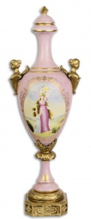 Casa Padrino Barock Vase mit Deckel Rosa / Gold 16, 9 x 13 x H. 50 cm - Barock & Jugendstil Deko Accessoires