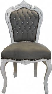 Casa Padrino Barock Esszimmer Stuhl Grau / Weiß mit Bling Bling Glitzersteinen - Möbel Antik Stil