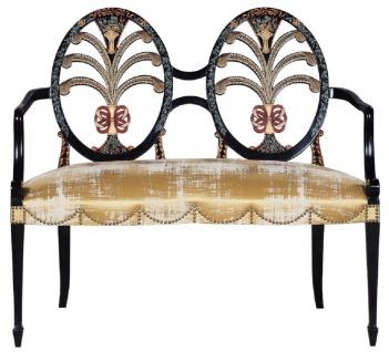 Casa Padrino Luxus Jugendstil Sitzbank mit Armlehnen Gold / Schwarz - Handgefertigte Massivholz Bank - Barock & Jugendstil Wohnzimmer Möbel