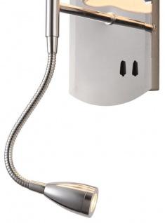 Casa Padrino Wandleuchte Silber / Creme 16 x 16 x H. 35 cm - Wandlampe mit flexiblem Leselicht - Vorschau 4